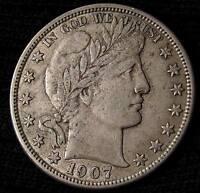 1907 O BARBER HALF DOLLAR -  AU  #16125