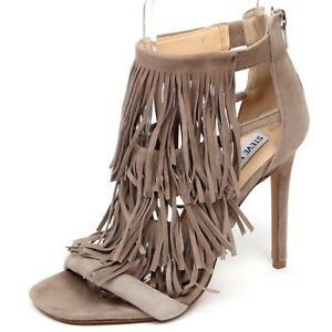 F1086 sandalo donna taupe STEVE MADDEN FRINGLY scarpe suede shoe woman