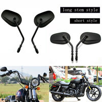 Long Black Motorcycle Mirrors For 1990-2018 Harley Davidson Sportster 883 1200
