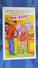 Risque Comic Postcard 1950s Boobs Blonde Nylons Stockings FUN FAIR Fairground