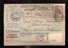 Germany Perfin Firmenlochung  parcel card Book store Fischer Leipzig 1920