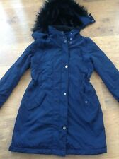 NEXT LADIES BLUE HOODED PARKA / COAT SIZE 10 ( REMOVEABLE HOOD )
