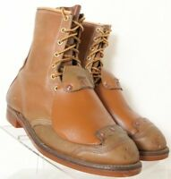 Hytest Vtg Camel Brown Leather Lace-Up ST Met guard Ankle Work Boot Mens US 9.5C