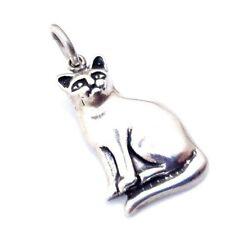 Vtg Embossed Sterling Silver Cat Charm