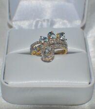 Glamoroso 1.67 Quilates Natural Aguamarina & 55 Diamante Original Anillo de