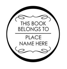 THIS BOOK BELONGS TO - Custom Personalized Black Round Self Inking Rubber stamp