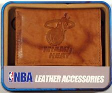 Miami Heat NBA Embossed Brown Leather Trifold Wallet NEW in Gift Tin