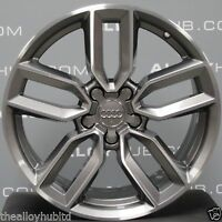 "GENUINE AUDI S3 8V 5 TWIN DIAMOND TURNED/GREY SPOKE 18"" INCH ALLOY WHEELS SET X4"