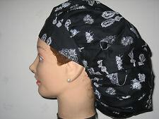 Surgical Scrub Hats/Caps  Diamonds and Tiaras on black fabric