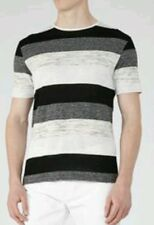 REISS Shot tonal stripe t-shirt size M --BRAND NEW-- cotton blend short sleeve