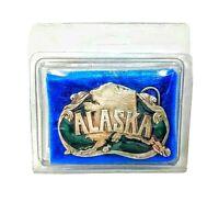 Alaska State Enamel Green Belt Buckle Vintage 1984 Siskiyou Buckle Co. USA NOS