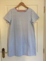 JOULES RIVIERALUXE DRESS BLUE WHITE SILVER STRIPE JERSEY COTTON UK 16