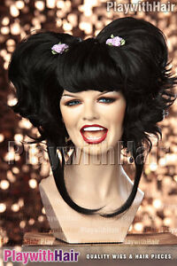 COOL! Amazing Beehive Party Costume Cosplay Wig Jet Black