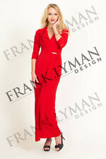 NEW FRANK LYMAN RED METALLIC MAXI OCCASION DRESS – UK SIZE 10