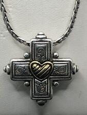 and Silver Trim. (Steampunk) Brighton Decorative Cross Necklace. Gold