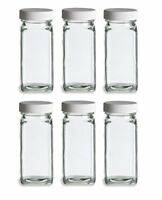 Nakpunar 6 pcs 6 oz French Square Glass Spice Jars with Shakers and White Lids