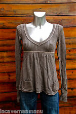 pretty tunic sweater brown cotton/pile rabbit ABERCROMBIE & FITCH size X-LARGE