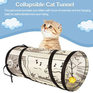 Collapsible Cat Tunnel Interactive Toy Japanese Style,Play Tubes Crinkle Printed
