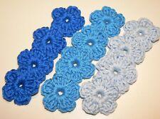 12 Mini Häkelblumen 2,5cm gehäkelt Blüten Aufnäher Blau Applikationen