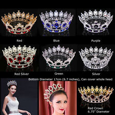 "6.7"" Wide Large Crystal Gold King Queen Round Crown Wedding Prom Party Pageant"