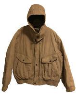 Members Only Plaid Fleece Lined Warm Vintage Hoodie Jacket Beige - Men's Large