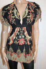Bardot Brand Black Paisley Print Short Sleeve Plunge Neck Tunic Top Size 8 #AN02