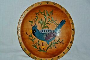 """Vintage Munising Wooden 8.5"""" Wooden Bowl Painted Chalotte Phillips"""