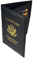 RFID Signal Blocking Leather Passport Cover Scan Proof Travel ID Card Wallet BK