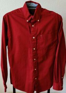 Vintage Tommy Hilfiger Red LS Logo Dress Shirt (Men's XS)