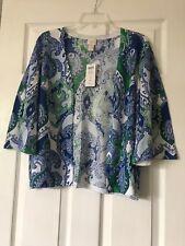 "chicos cardigan 2P, 3/4 Sleeve, Multi Color, Green Blues, 24"" Long, Linen Cotton"