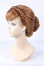 Newest Disney Frozen Anna Styled Coronation Cosplay Wig  hand made bun cos Hair