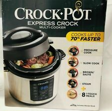 Crock-Pot Express 6 quart Multi-Cooker Stainless Steel with Recipe BOOK