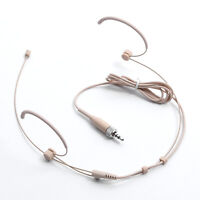 Double Earhook Headset Mic Headworn Microphone Fit For Sennheiser Wireless Beige