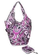 Very Lovely Bag Pink Paisley Foldaway Pouch Reusable Shopping Bag Push Button