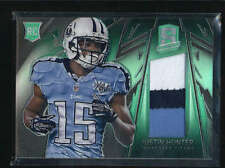 JUSTIN HUNTER 2013 SPECTRA RARE GREEN ROOKIE 3-CLR PATCH ROOKIE #2/5 AB6946