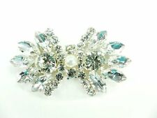 "Rhinestone Applique Crystal Stones Silver Setting Pearl Bridal Patch 2"" GB826"