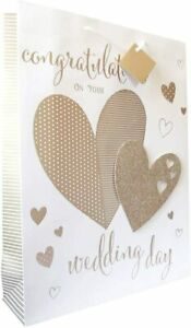 Wraptastic - Large - 264 x 136 x 327mm - Wedding Day Gift Bag & Tag - Gold Foil