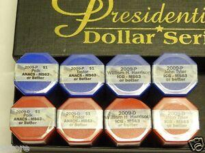 8 Rolls 2009-P&D  Presidential $1 Series Set IGC-ANACS MS63 +