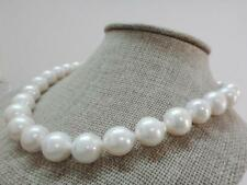 """Huge18""""12-15mm natural south sea genuine white near round pearl necklace 14k"""