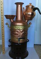 Tanner's Copper Samovar Tea Pot Set Charcoal Handmade Real Copper Samovar