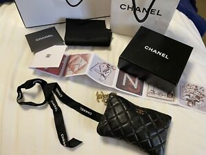 Authentic Chanel Mini Pouch Wallet Grained Calfskin Leather keychain holder card