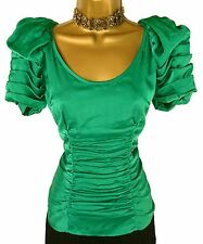 *Stunning* BNWT Green Satin Gathered Next Fitted Occasion Top Wedding Cruise 8
