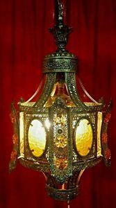 Vintage Filigree Moroccan Boho Amber Jeweled Hanging Swag Lamp 4Light Chandelier