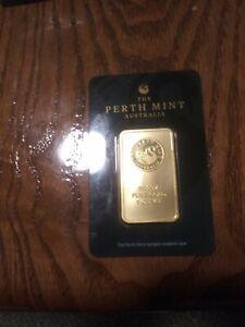 1oz 24kt plated Perth Mint Bar.