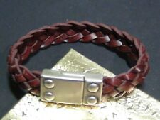 Magnetic Clasp Braided Woven Leather Burgundy Bracelet Men Cuff Brace