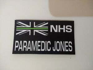 LP7 LoPro POLYFLEX 2D POLYMER PATCH - NHS THIN GREEN LINE PERSONALISED BADGE