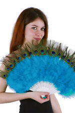 "Marabou Fan w Peacock Eyes 15x27"" AQUA BLUE Burlesque Costume Halloween Theater"