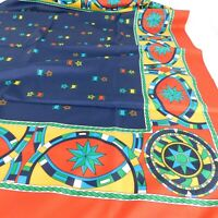 Vintage Made in Italy Blue Red Green Yellow White Geometric Star Medal Scarf