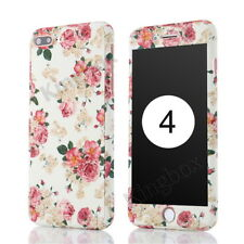 Flower Pattern Full Body Protector Hard Case Cover + Tempered Glass for iPhone