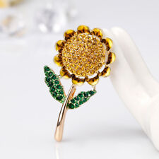 Cn _ de Mujer Brillante Diamante Imitacion Esmalte Girasol Collar Broche